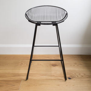 Black wire Rangitoto kitchen stool or barstool, by Ico Traders