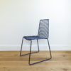 Angle view of Ink coloured metal wire dining chair. Outdoor wire furniture. Devonport chair by Ico Traders.