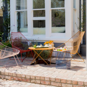 Outdoor furniture. Piha outdoor chairs with the Oneroa outdoor table & the Willowby wire side table.