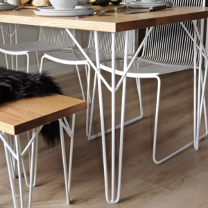 Wire hairpin legs for dining tables and desks. benchseat with white hairpin legs, Devonport wire dining chairs