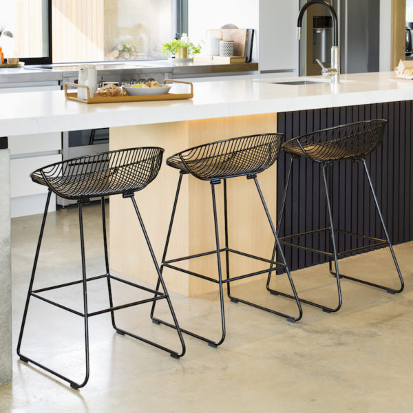 Black wire kitchen Rangitoto barstools and metal breakfast All Day Tray