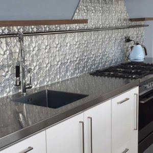 Original patterned pressed metal kitchen splashback by Pressed Tin Panels®