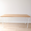 Solid Oak dining table with white hairpin legs, Tongariro table made in New Zealand