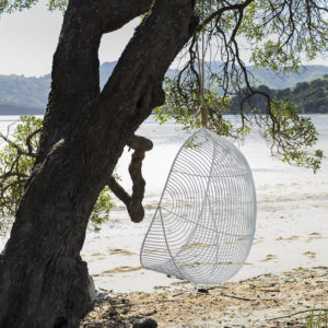 A white wire hanging chairs, tied in a tree, faces the beach in Akaroa, New Zealand