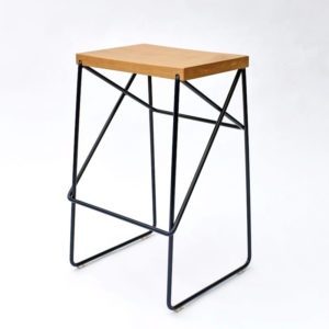 KARAPIRO STOOL, WHITE OAK & WIRE BREAKFAST STOOL