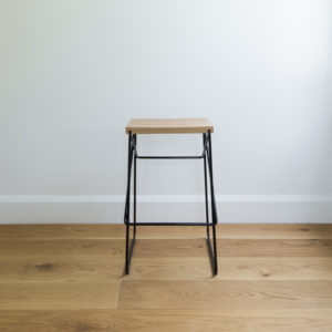 Black wire kitchen stool with criss cross legs & solid oak seat
