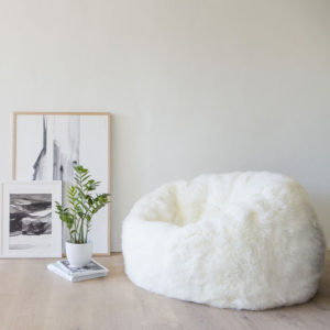 New Zealand sheepskin wool bean bag in off white