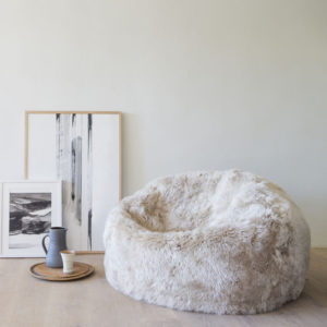 Shaggy wool sheepskin beanbag made with NZ wool