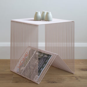 Blush pink wire side table, square wire magazine rack.