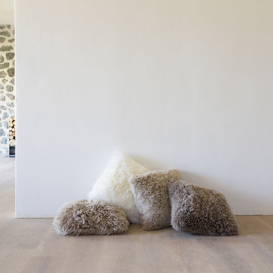 Shaggy wool sheepskin cushions, made of New Zealand wool, by Wilson & Dorset