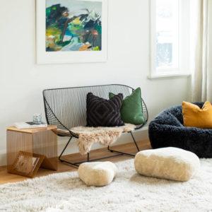 Wilson & Dorset New Zealand Wool sheepskins - shaggy sheepskin beanbag, sheepskin stones, shaggy sheepskin rug.