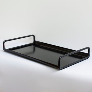 Black rectangle metal tray, with curved handles and edges