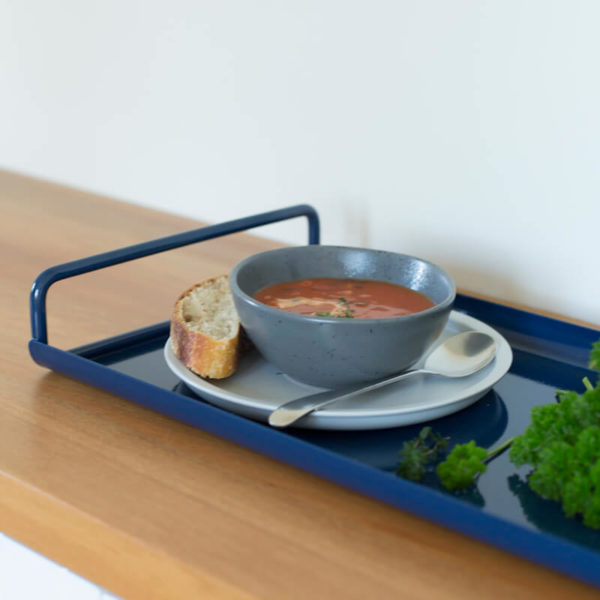 All Day Tray - ink coloured metal tray with curved edges