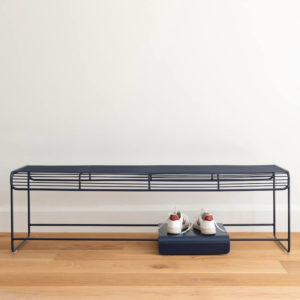Benmore bench in colour Indigo. Wire bench by Ico Traders