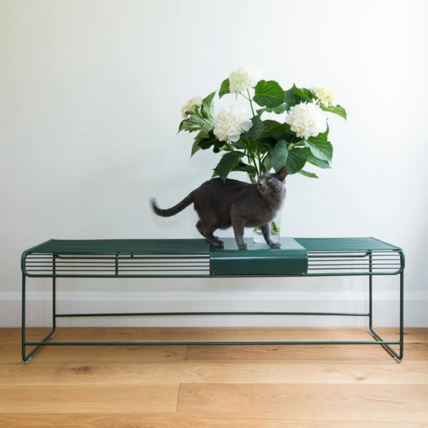Dark Moss Green wire bench seat, Outdoor wire bench