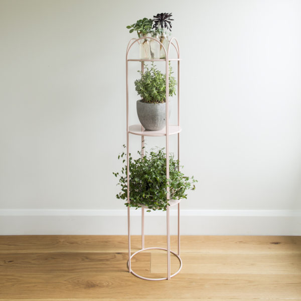 Metal, 3 tiered display stand with curved edges. Blush pink colourway. Mahoe plant stand by Ico Traders