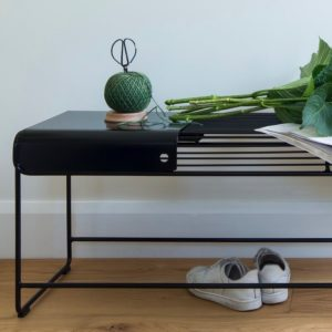 Solid metal plate sits on a black wire bench seat Benmore Bench seat & Benmore bench plate by Ico Traders