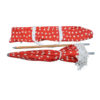 Beach brolly. Sun umbrella with cotton fringing - Red Toadstool print umbrella