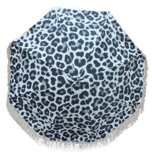 Vintage style sun umbrella. Black & White Animal print with cotton fringing