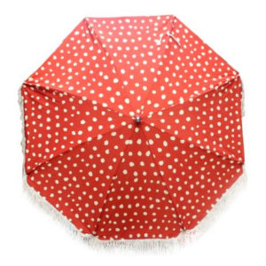 Beach Sun umbrella with cotton fringe. Vintage Toadstool print