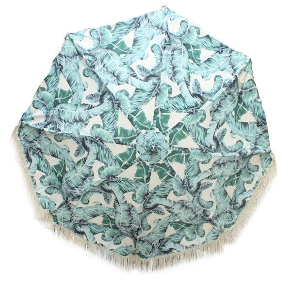 Botanical print sun umbrella with vintage cotton fringing.