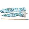 Beach brolly. Sun umbrella with cotton fringing - Tropical leaf print umbrella