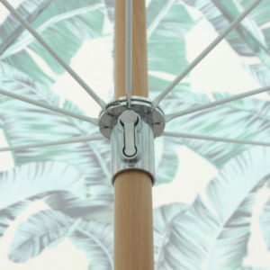 Beach brolly. Sun umbrella with cotton fringing - Botanical print umbrella