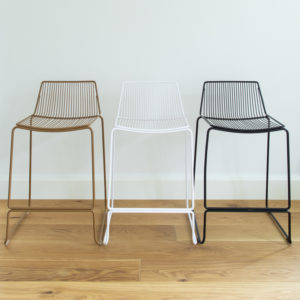3 colourways of wire barstool: Black, White, Tobacco