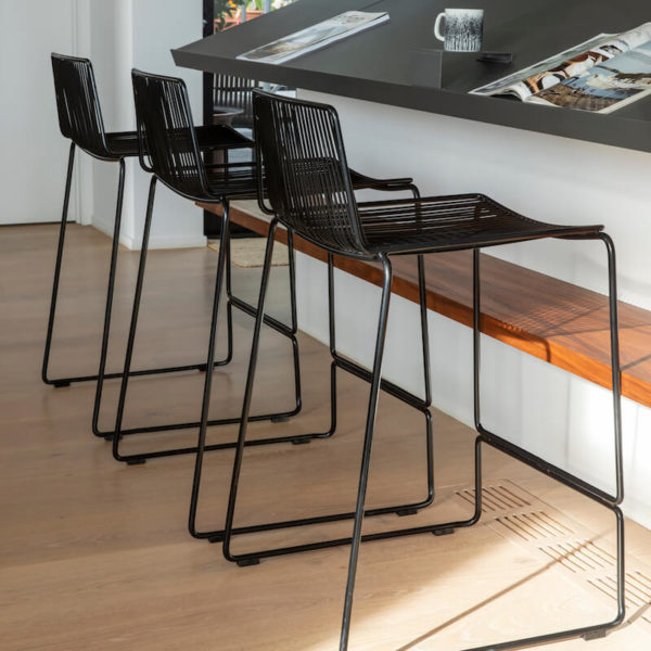 Black wire kitchen barstools. Dunedin stools by Ico Traders