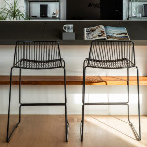Black wire kitchen bar stools. Dunedin barstools by Ico Traders.
