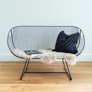 Wire couch in Black with NZ wool sheepskin - outdoor chair