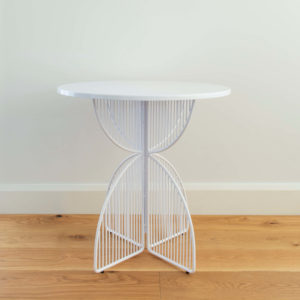 Metal wire outdoor table in colour White. Omaha cafe table by Ico Traders