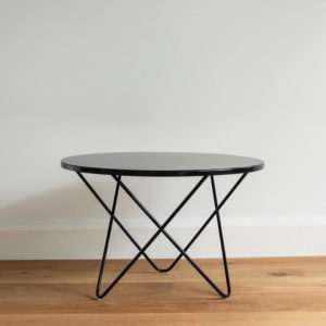 Round metal outdoor coffee table by Ico Traders. Colour Black