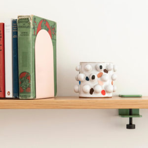Oak Shelving by Ico Traders. Tiptoe wall brackets. Welcome shelf. Jamb bookends in colour Blush