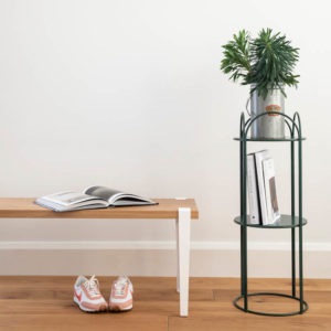 Ico Traders Welcome Bench Seat and Moss Green plant stand
