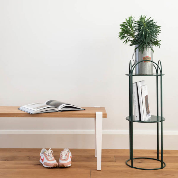 Welcome bench seat by Ico Traders with Moss Green plant stand
