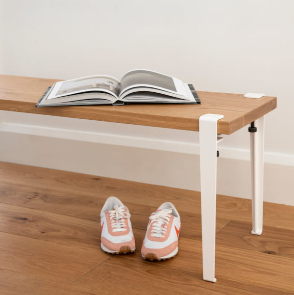 Welcome bench by Ico Traders. Solid Oak with white Tiptoe 43cm legs.