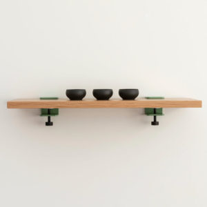 Welcome shelf 600 by Ico Traders. Oak shelving. Tiptoe wall brackets