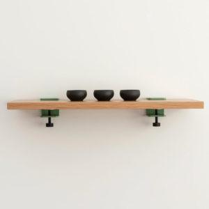 Welcome shelf 600 by Ico Traders. Oak shelving. Tiptoe wall brackets