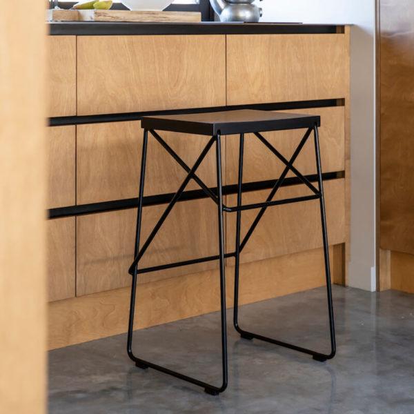 Karapiro kitchen barstool in black on black